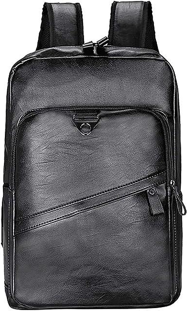 Leather Men Waterproof Business Rucksack Large Capacity Travel Men Daypacks Backpack School Bag Black