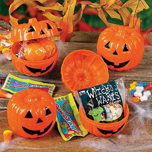 Fun Express - CandY-Filled JacK-O'-Lanterns (2dz) for Halloween - Party Supplies - Pre - Filled Party Favors - Pre - Filled Plastic Containers - Halloween - 24 -