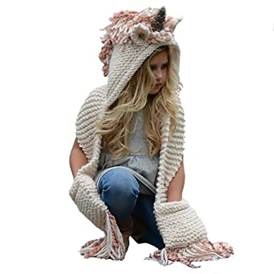 127ec60e6 Inicon Winter Kids Crochet Knit Unicorn Hood Hat Scarf with Gloves ...