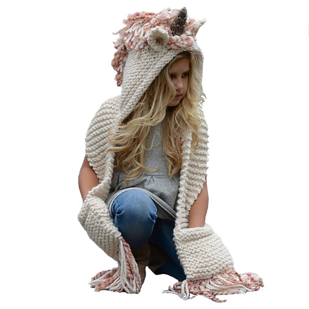 Echolife Winter Kids Crochet Knit Unicorn Hood Hat Scarf with Gloves Girls Boys (Pink)