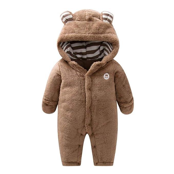 Goyajun Bebé Ropa de Invierno Pelele - Cálido Espeso Mamelucos con Capucha Animal Bear Mono Ropa para Recién Nacido Bebé Niños Niñas 0-24 Meses: Amazon.es: ...