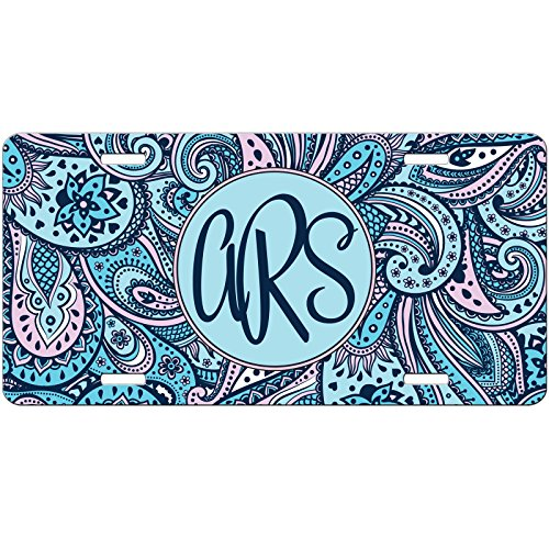 Car Auto Tag (Personalized Car Tag - Auto Tag - Blue and Pink Paisley Monogrammed Monogram License)