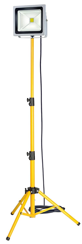 Brennenstuhl Stativ Chip-LED-Leuchte / LED Strahler auß en mit Stativ (Auß enstrahler 50W, Baustrahler IP65, LED Fluter Tageslicht) Farbe: silber / gelb 1171250524