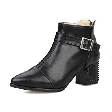 Women's Soft Material Zipper Pointed Closed Toe Kitten-Heels Low-top Boots