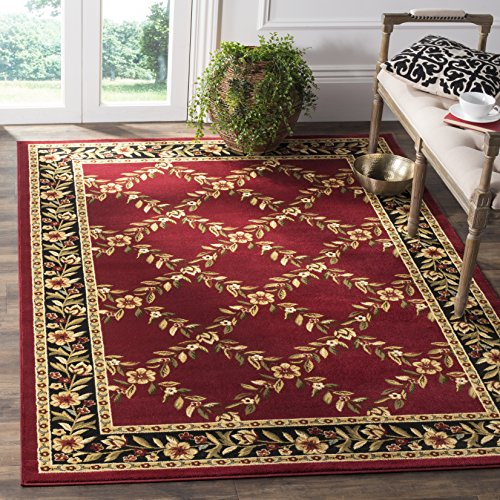 Safavieh Lyndhurst Collection LNH557-4090 Traditional Floral Trellis Red and Black Square Area Rug (6'7