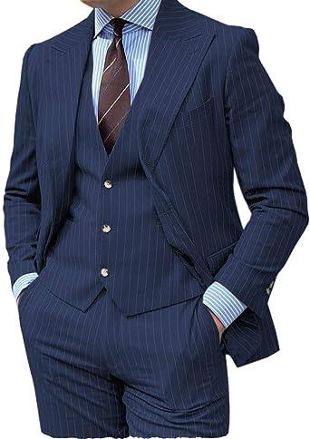 Hombres Tres Piezas Slim Fit Vertical Stripe Hombres Traje De Groomsmen Formal Esmoquin Pantalones Blazer Chaleco Pantalón Amazon Es Ropa Y Accesorios