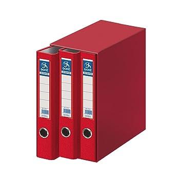 Dohe Archicolor - Módulo 3 archivadores, folio lomo estrecho, color rojo: Amazon.es: Oficina y papelería