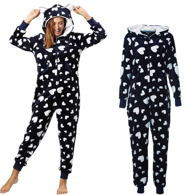 57aa19491e Dreamlove Damen Jumpsuit Onesie Overall Einteiler Pyjama Schlafanzug  Trainingsanzug Ganzkörperanzug Hausanzug Mit Kapuze & Reißverschluss:  Amazon.de: ...