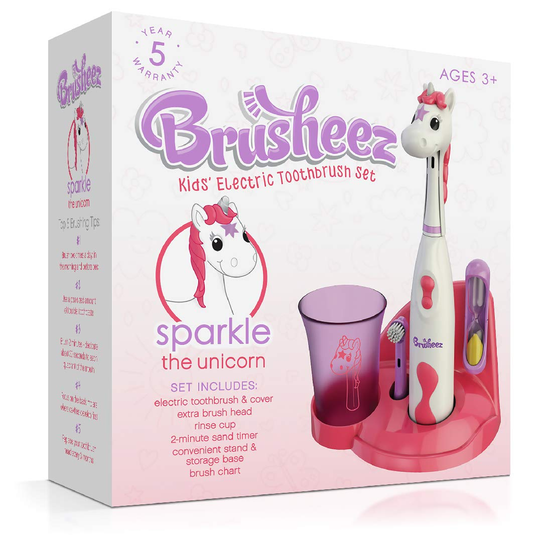 Brusheez Kid's Electric Toothbrush Set - Sparkle the Unicorn - New & Improved with Softer Bristles, Easy-Press Power Button, 2 Brush Heads, Cute Animal Cover, Sand Timer, Rinse Cup & Storage Base by Brusheez (Image #6)