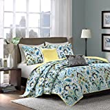 Madison Park Caprice 5 Piece Quilted Coverlet Set, Queen, Blue