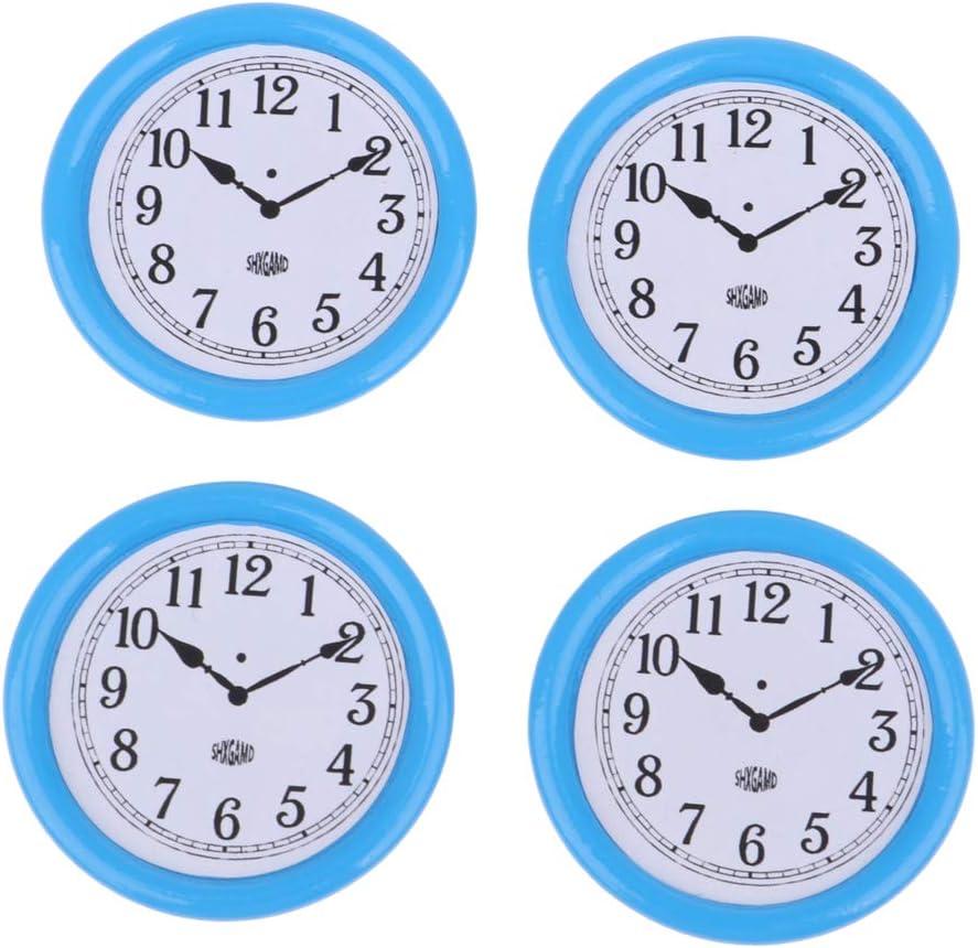 4 Pedazos Mini Muebles de Resina Modelismo Reloj de Pared para Casa de Muñecas Escala 1/12 - Azul