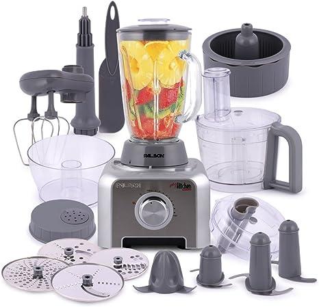 Palson My Kitchen Robot de cocina 12 en 1, 1000 W, 1.5 l, accesorios de acero inoxidable, color plato: Amazon.es: Hogar