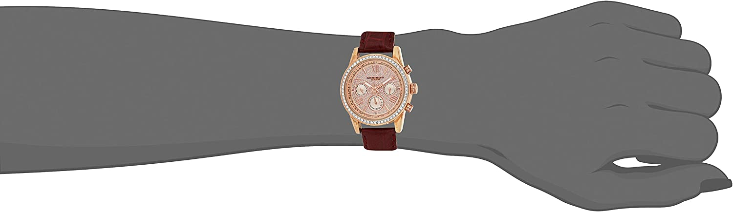 Akribos XXIV Women's Diamond Accented Heart Engraved Dial Leather Strap Watch in a Beautiful Gift Box Perfect for Mothers Day - AK1044 Thunder Grey