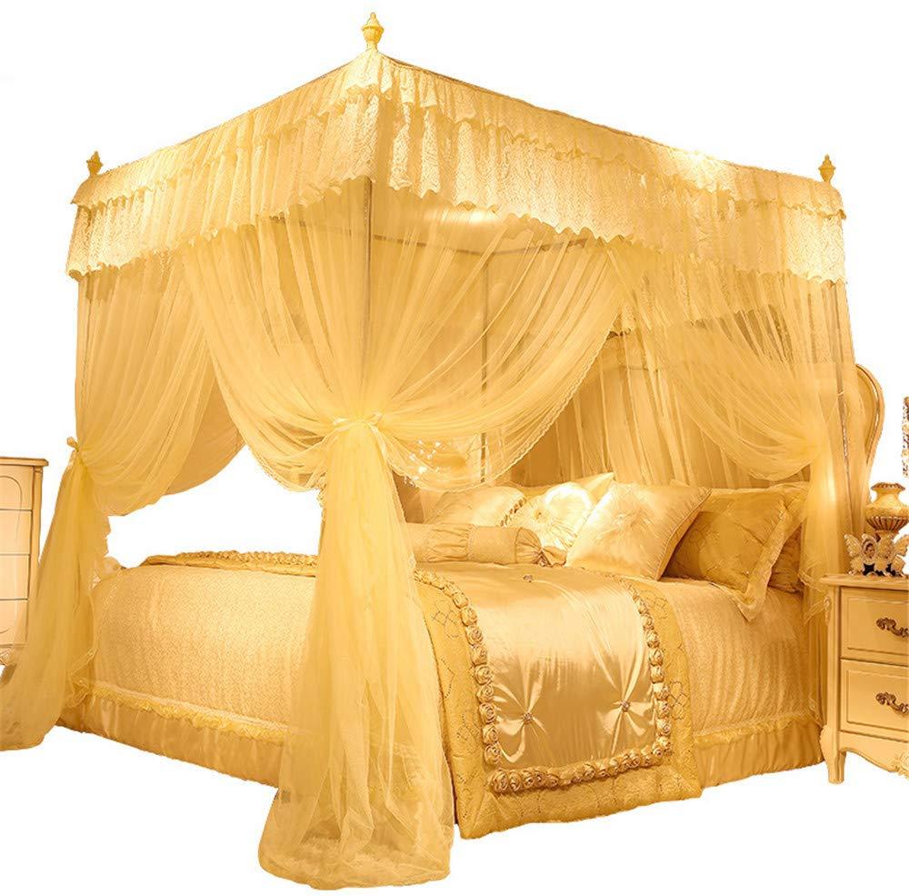 Mosquito net Bedroom Single Bed Gauze Three Door Home Princess Room Floor-Standing Stainless Steel Bracket Decorative Tent, Yellow, 1.8M