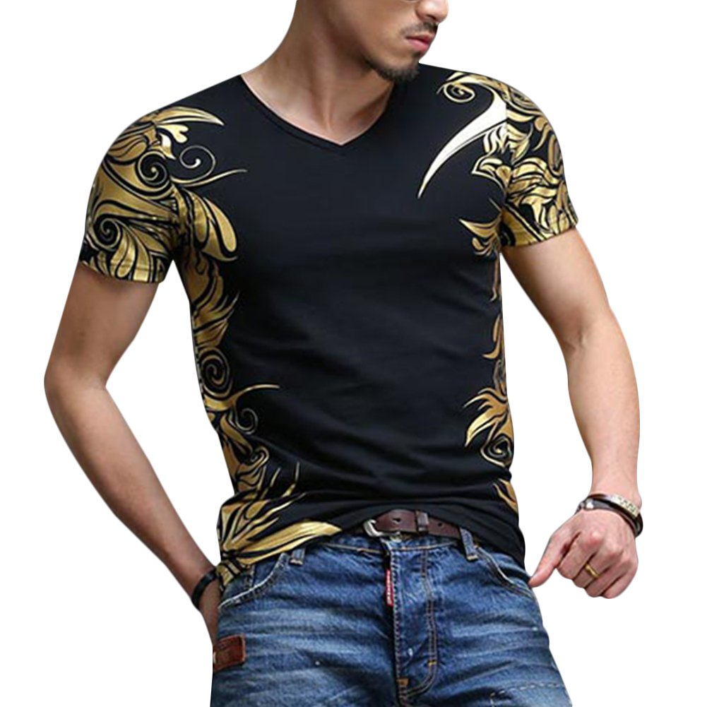 XL, Black-B Plus Size Mens Fashion V-Neck Short Sleeve Floral Print Fit T-Shirt Top Tee