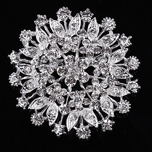 - USIX Pack of 3 Floriated Round Rhinestone Crystal Brooch Pin for Dress, Suit, Sweater Embellishments, DIY Wedding Bouquet Cake Dress Corsage Boutonniere Decoration(105-Crystalx3)
