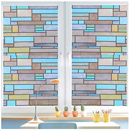 Bloss Stained Glass Window Film Privacy Decorative Brick Static Cling Covering Non Adhesive