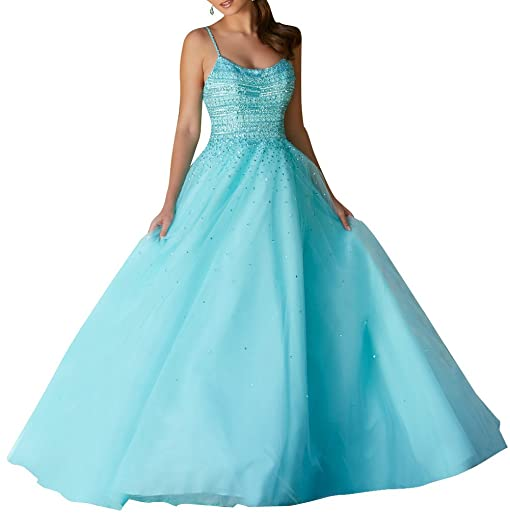Spaghetti Straps Beaded Evening Dresses Long Backless A Line Formal Prom Gowns Blue Size 2
