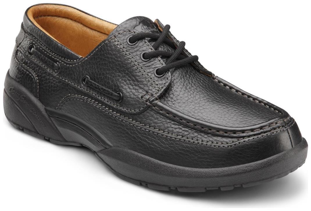 Dr. Comfort Patrick Men's Therapeutic Extra Depth Boat Shoe: Black 12 Wide (E/2E) Lace