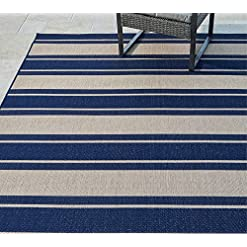 Garden and Outdoor Gertmenian Tropical Collection Outdoor Rug Patio Area Carpet 8×10 Large Navy Blue Stripes outdoor rugs