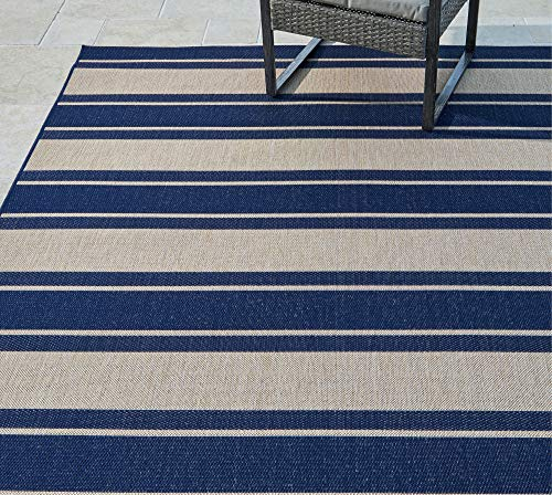 Garden and Outdoor Gertmenian 21977 Outdoor Rug Freedom Collection Striped Medal Themed Smart Care Deck Patio Carpet, 8×10 Large, Navy Blue… outdoor rugs