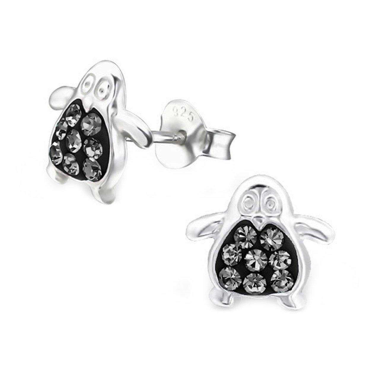 Cute Crystals Penguin Earrings Studs Girls Sterling Silver 925 (E5420) (Black Diamond)
