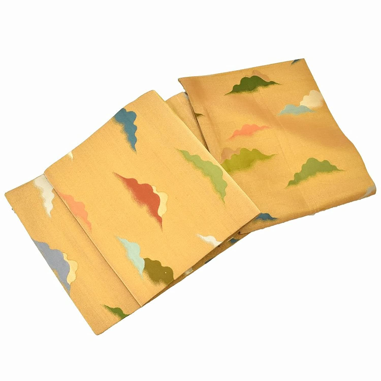 袋帯 リサイクル 中古 正絹 ふくろおび 綴織 山岳文様 金系 ll1510b B07F68K165  -