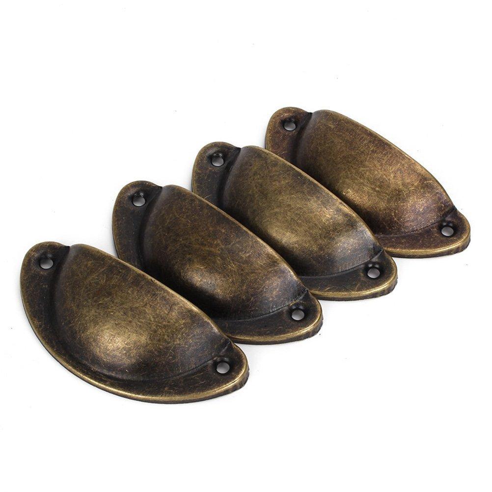 bronce Tinksky 4pcs Vintage decorativo caj/ón Pull Asa hierro semic/írculo pomos de puerta