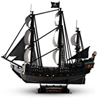 CubicFun 3D Pirate Ship Puzzle Model Kits with Led Lights,Large Black Queen Anne's Revenge,340 Pcs