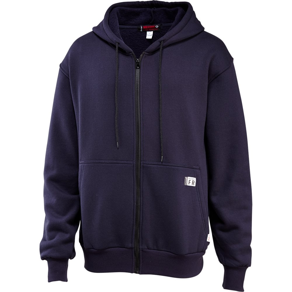 Wolverine Men's Flame Resistant Fleece Zip Front Hoody, Navy, Small