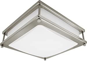 MingBright LED Ceiling Light 15W , 12-Inch Square Flush Mount Fixture, Dimmable Ceiling Lamps for Hallway, Bathroom or Kitchen, Damp Location Ceiling Light Brushed Nickel, cETL Listed