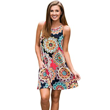 Damen Boho Kurz Kleid Minikleid Sommer Strandkleid Geblümt Tunika Partykleider