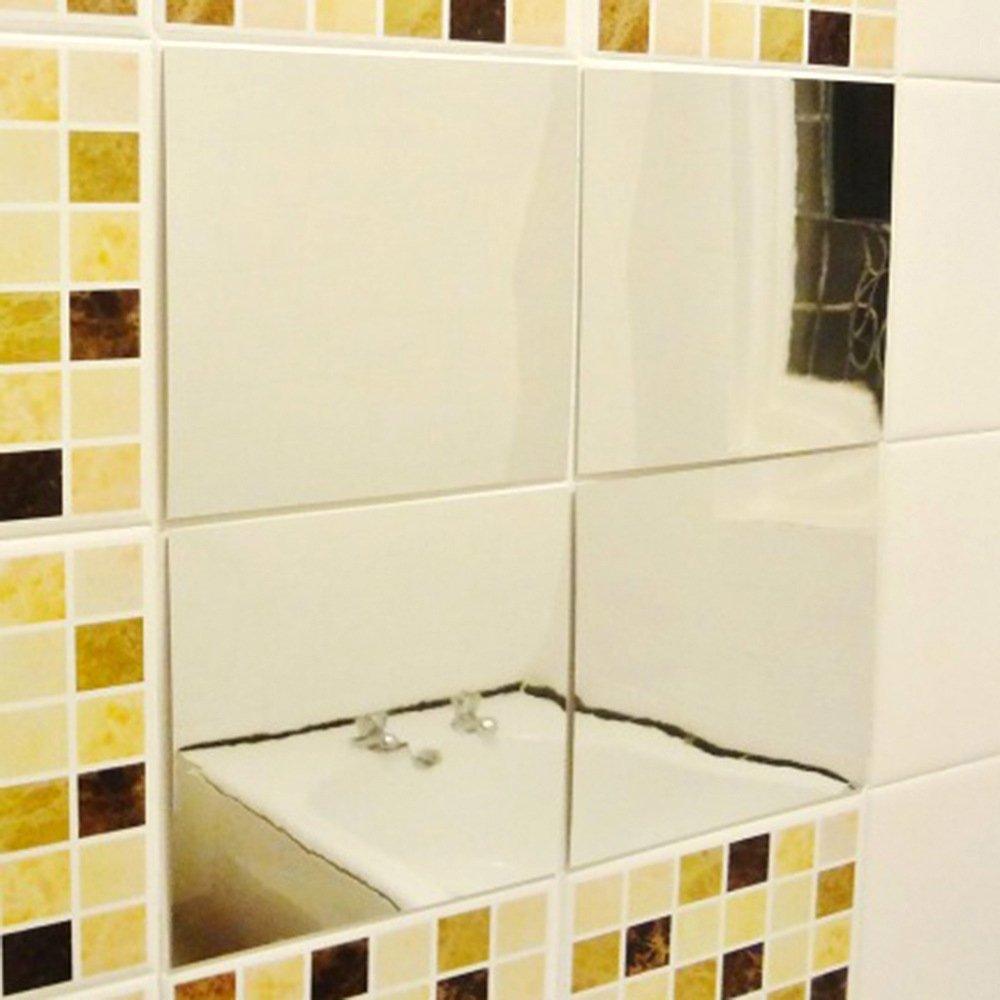 Amazon.com: 16pcs DLonline Decor Adhesive Square Mirrors Stickers ...