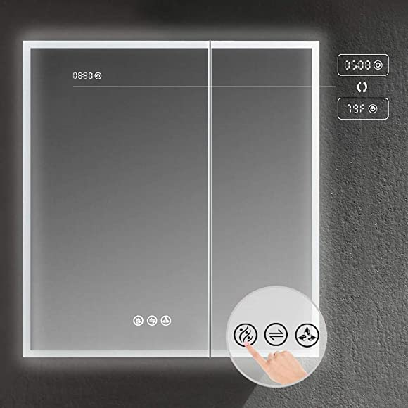 Recessed or Surface LED Mirror Medicine Cabinet w Defogger, Dimmer, 3X Makeup Mirror, Outlets USB 30×32 Zoom Mirror