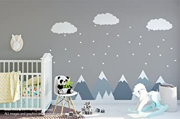 mountain scene wall decals wall decals nursery kids wall decal removable reusable