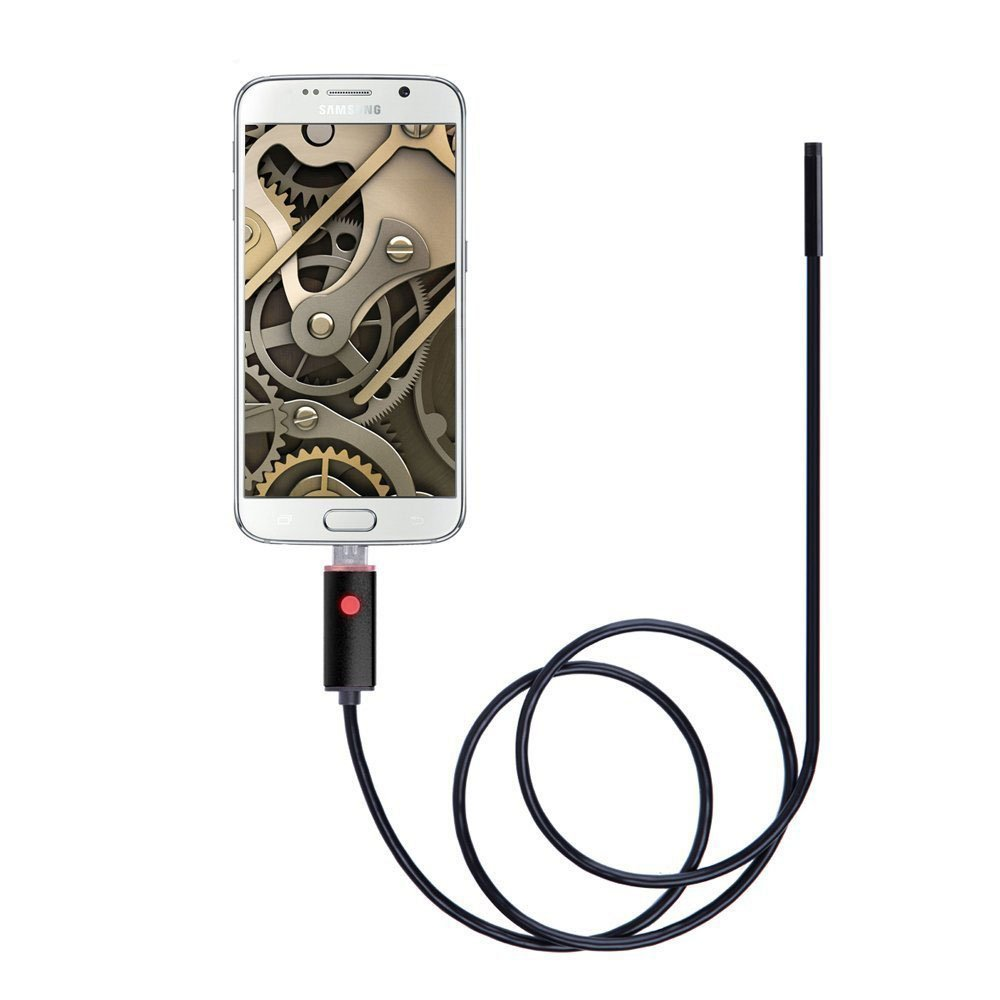 Borescope USB Endoscope Inspection Camera EFUTONPRO Waterproof For Android and Windows 5.5mm 2 in 1 HD with 6 Adjustable LED Lights - 5M (16.4 ft)