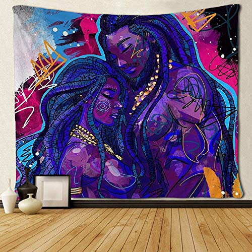 - SARA NELL Tapestry African American Couple Lover Deep Love Tapestries Hippie Art Black Art Wall Hanging Throw Tablecloth 50X60 Inches for Bedroom Living Room Dorm Room