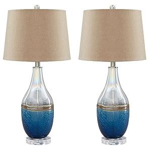 Ashley Furniture Signature Design - Johanna Glass Table Lamps - Beachy - Set of 2 - Clear & Blue