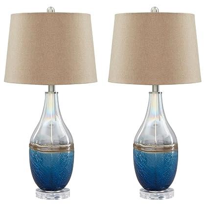Amazon.com: JOHANNA Azul/Transparente lámpara de mesa de ...
