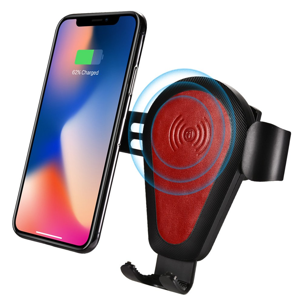 ICARER Wireless Car Charger Mount, Leather Qi Fast Wireless