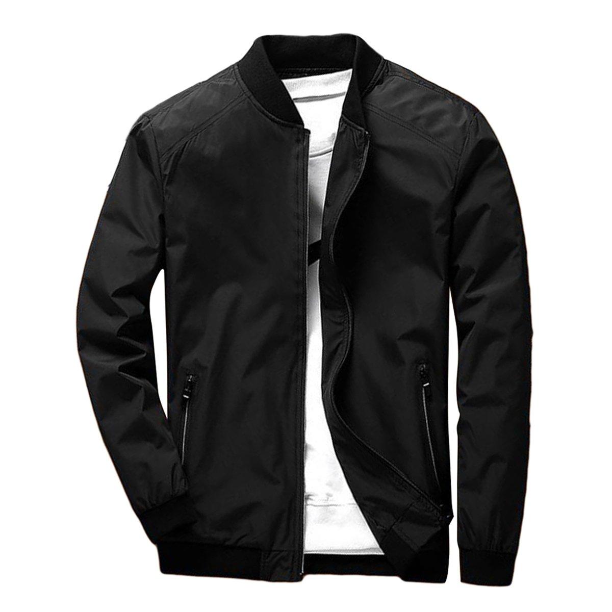 PrettyChic Men's Bomber Jacket Casual Light Slim Fit Full Zip Bike Outerwear Windbreaker, Black, Tag Size 3XL=US Size L