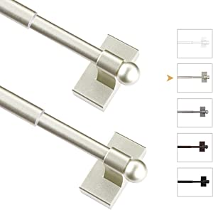 WL.Rocaille Adjustable Magnetic Rods for Mental Appliance, Doors, Windows,16 to 28 Inch/2 Pack/Easy Installation Toilet Towel Bar, Muti-Useful (Champagne, 2pack)