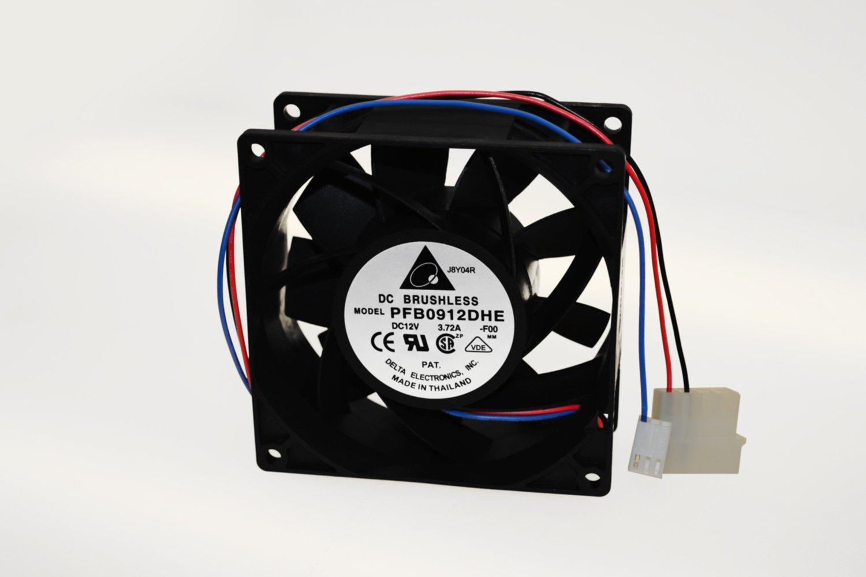 Delta Electronics PFB0912DHE-F00 92x92x38mm Cooling Fan, 175.03 CFM, 8000 RPM, 66.5 dBA, 3.72A (Max), 46.21 air pre., 4+3-pin power & TAC connector
