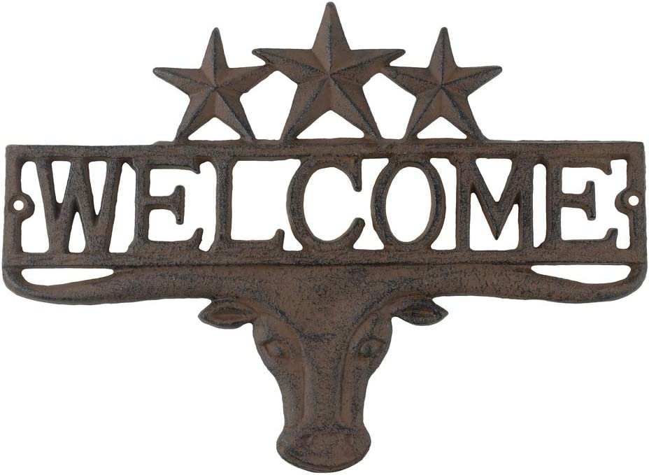 Treasure Gurus Metal Texas Longhorn Welcome Home Sign TX Star Front Door Man Cave Decor