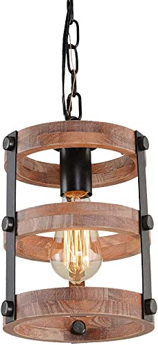 Giluta Circular Wood Pendant Light Farmhouse Kitchen Chandelier One-Light Rustic Industrial Edison Ceiling Light Hanging Light Fixture