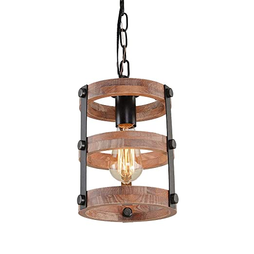 Giluta Circular Wood Pendant Light Farmhouse Kitchen Chandelier One Light Rustic Industrial Edison Ceiling Light Hanging Light Fixtures For Dining