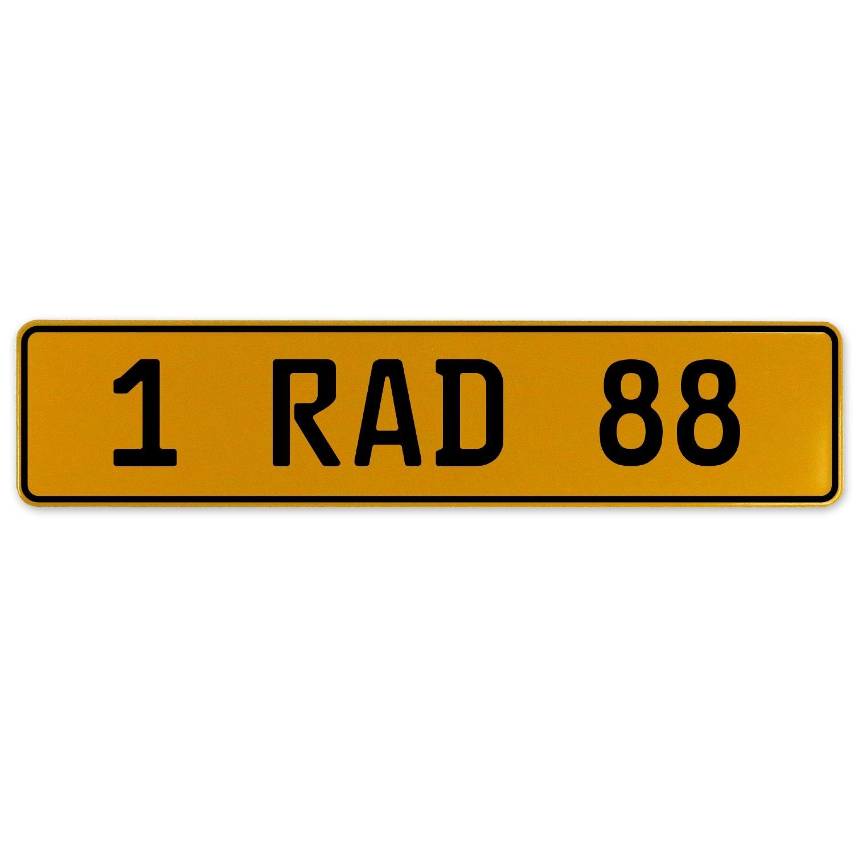 1 RAD 88 Vintage Parts 559140 Yellow Stamped Aluminum European Plate