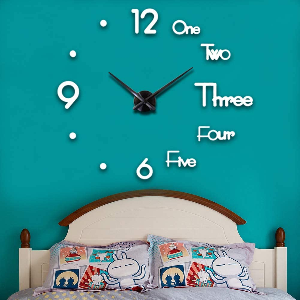 CreationStore Large 3D DIY Wall Clock Acrylic Mirror Surface Decoration Wall Clock for Living Room Bedroom Office (White)