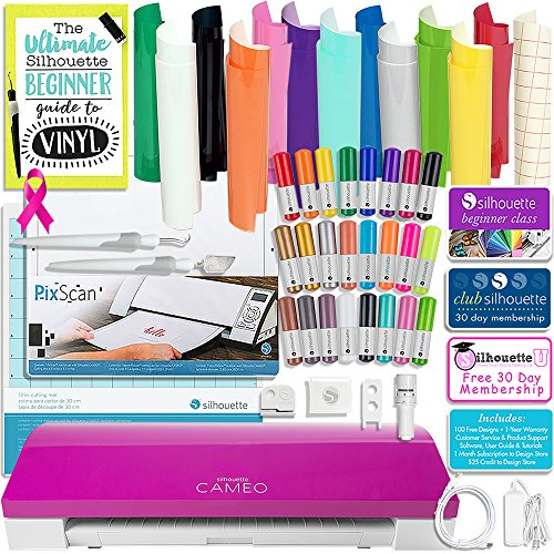 Silhouette Cameo 3 Limited PINK Edition Bluetooth Bundle with 12x12 Sheets of Oracal 651 Vinyl, 24 Sketch Pens, Pixscan Mat, Guide Books, and More by Silhouette America