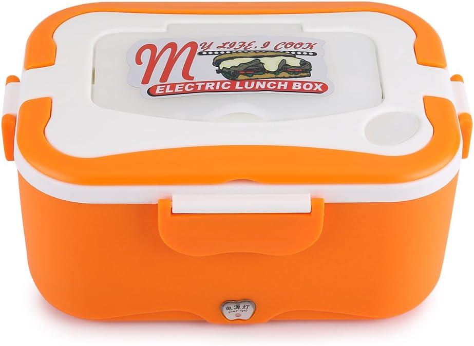 Wifehelper 1.5L Portátil 12V / 24V Coche Calefacción Eléctrica Portátil Fiambrera Bento Food Warmer Container con la Manija para la Conservación del Calor Oficina Escuela Viajando(12V-Naranja)